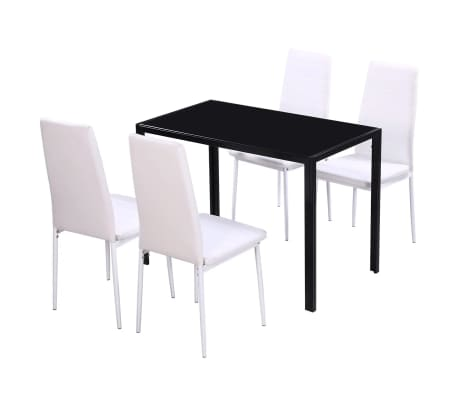 vidaXL Five Piece Dining Table and Chair Set Black and White[2/6]