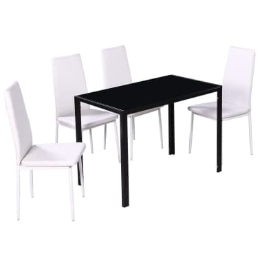 vidaXL Five Piece Dining Table and Chair Set Black and White[3/6]