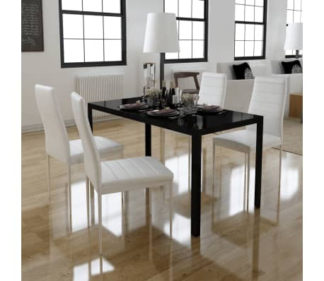 vidaXL Five Piece Dining Table and Chair Set Black and White[1/6]