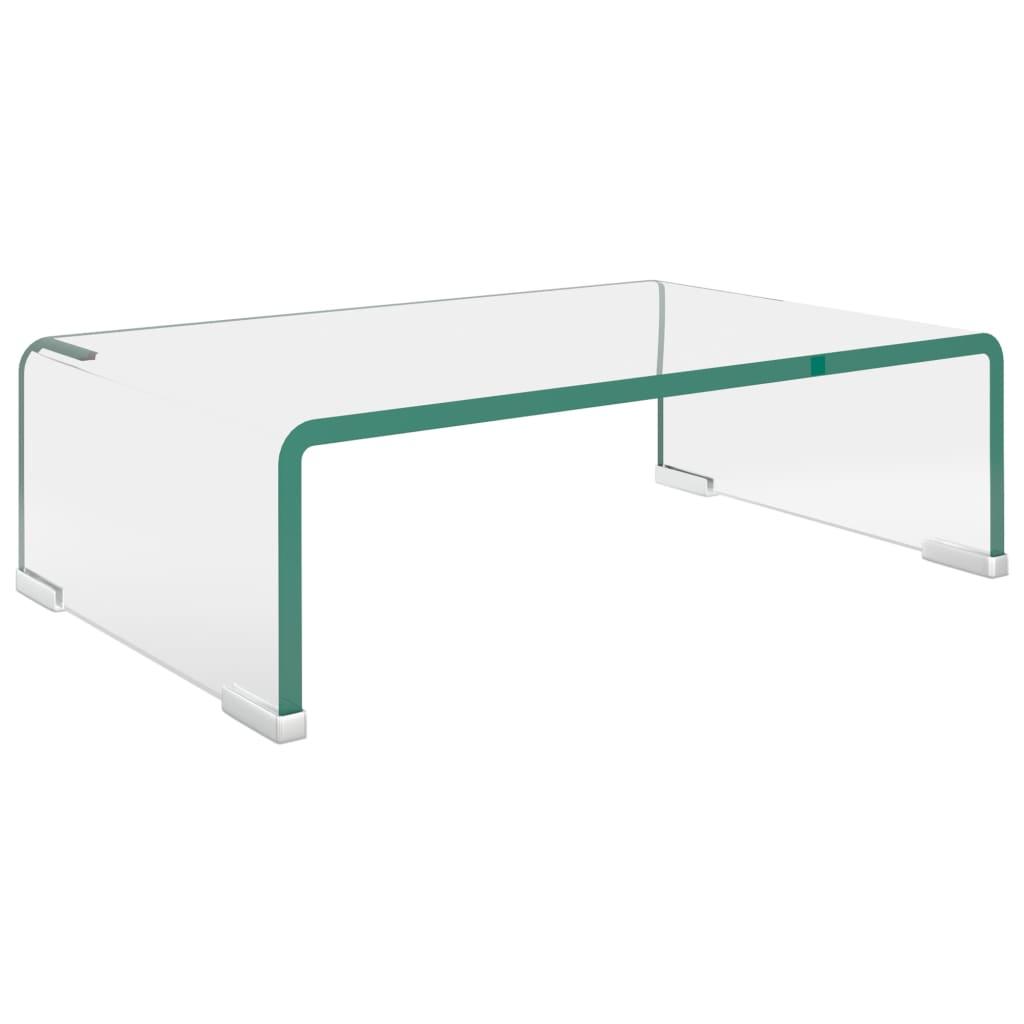 TV stolek / podstavec na monitor čiré sklo 40x25x11 cm