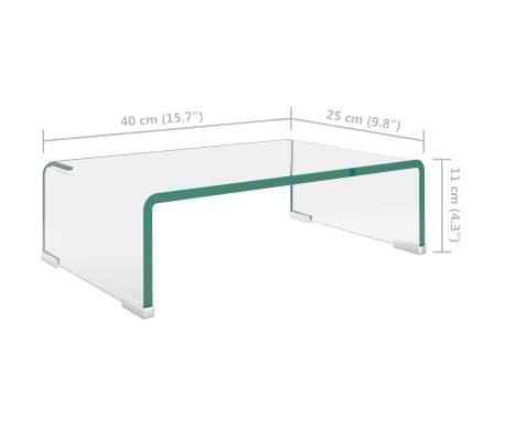 vidaXL TV-Tisch/Bildschirmerhöhung Glas Transparent 40x25x11 cm[5/6]