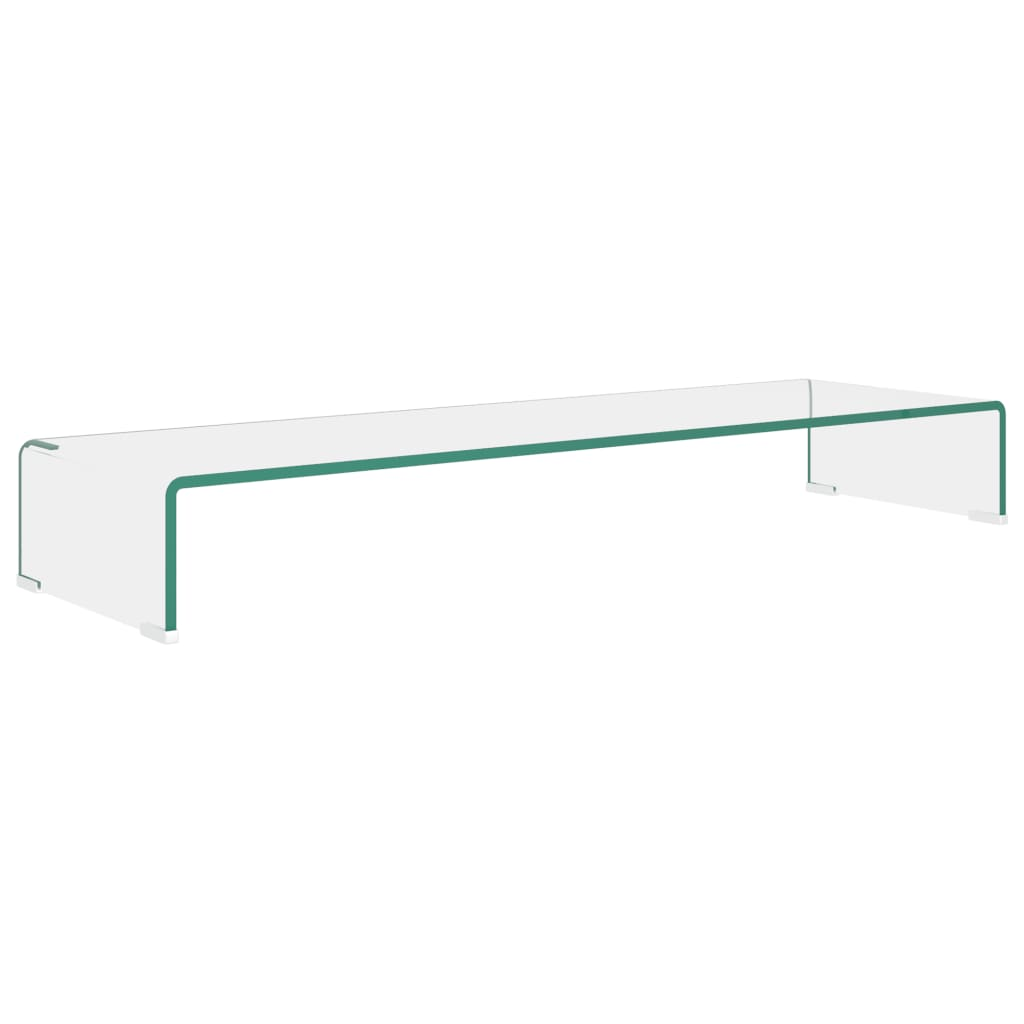 vidaXL TV-benk glass klar 100x30x13 cm