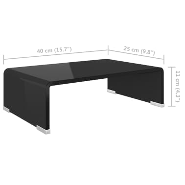 "vidaXL TV Stand / Monitor Riser Glass Black 15.7""x9.8""x4.3""[5/6]"