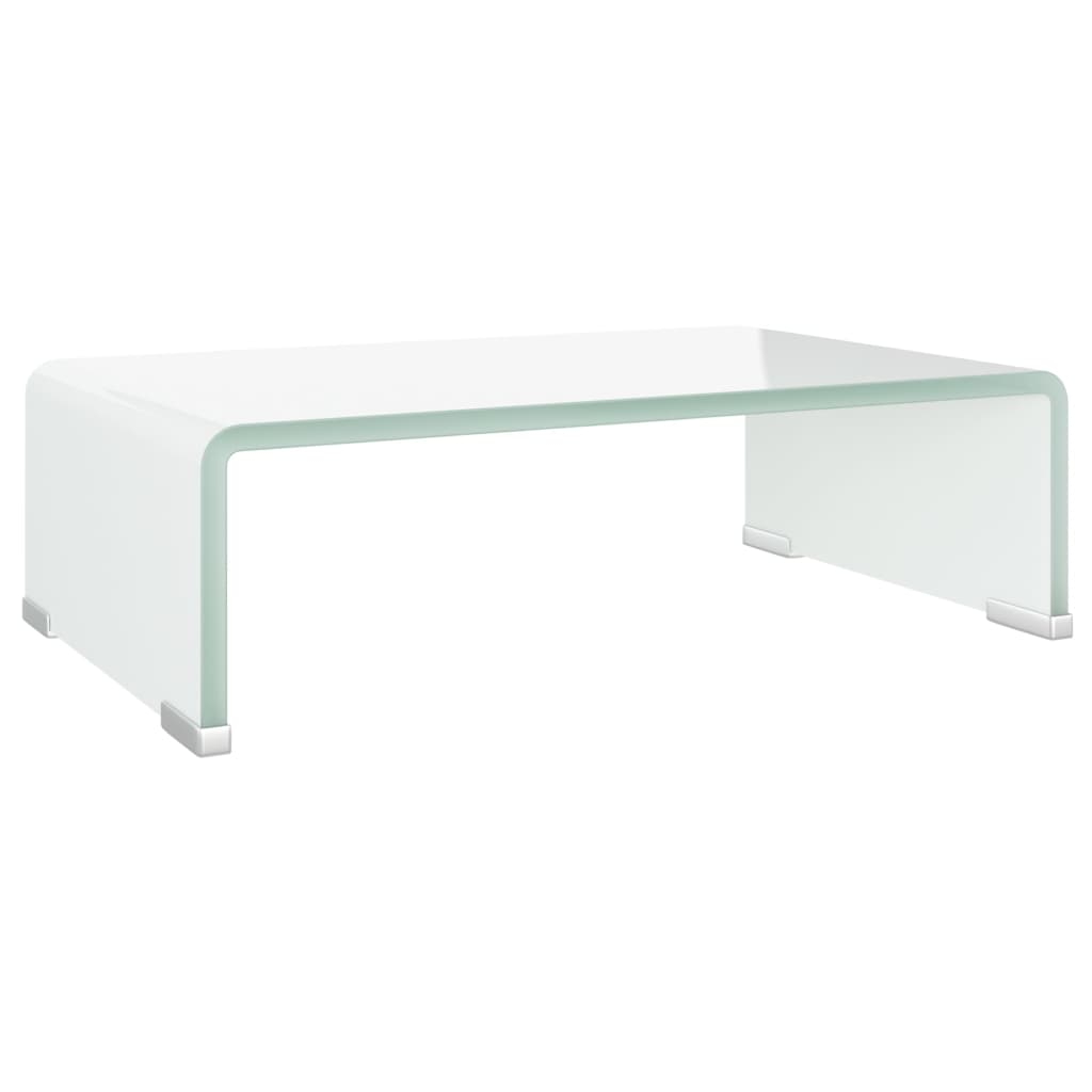vidaXL TV-benk glass hvit 40x25x11 cm