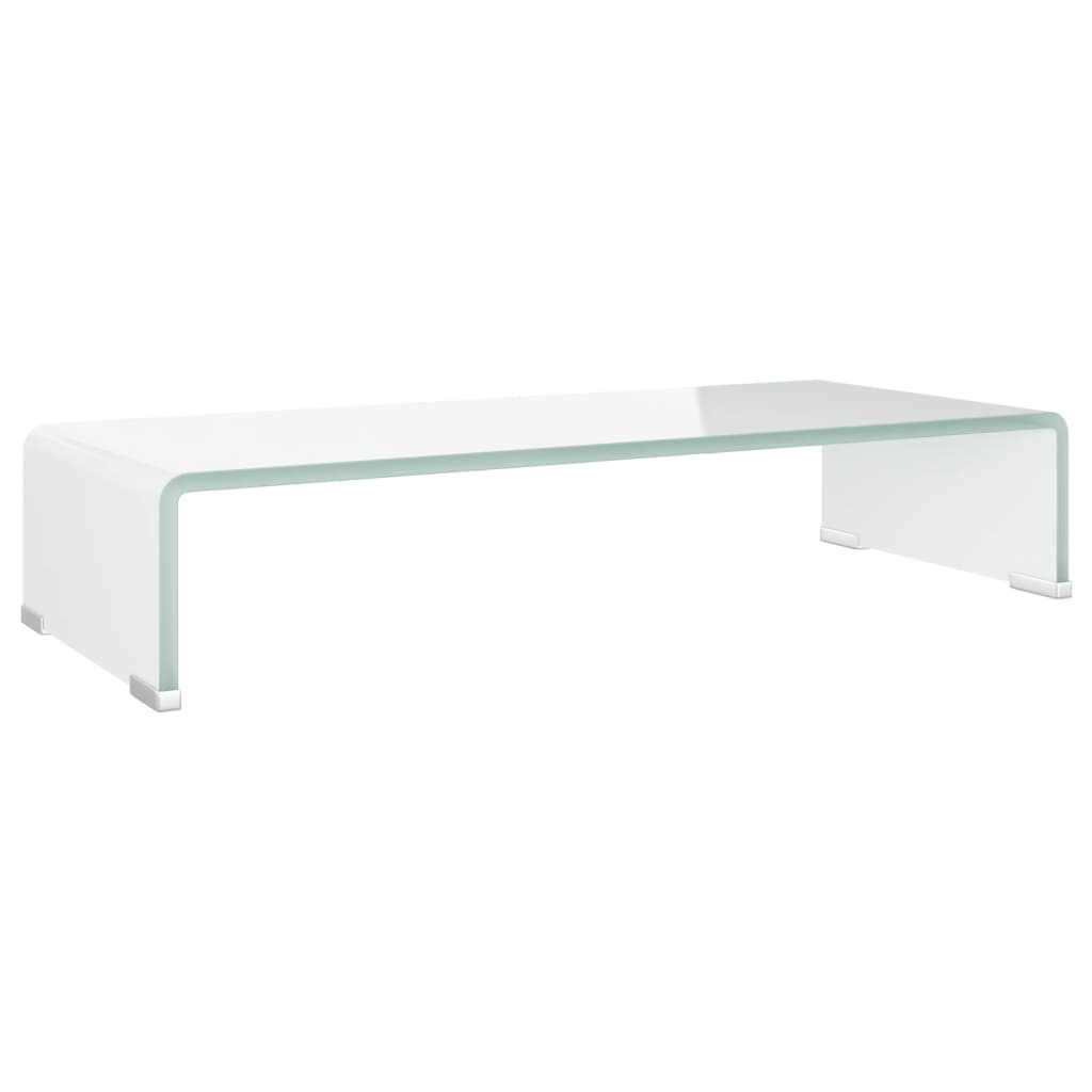 vidaXL TV-benk glass hvit 60x25x11 cm