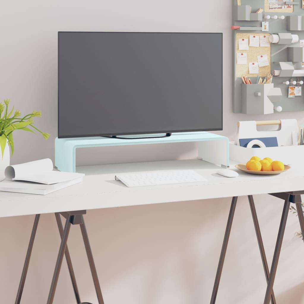 vidaXL TV-stander/monitorstand hvidt glas 60x25x11 cm