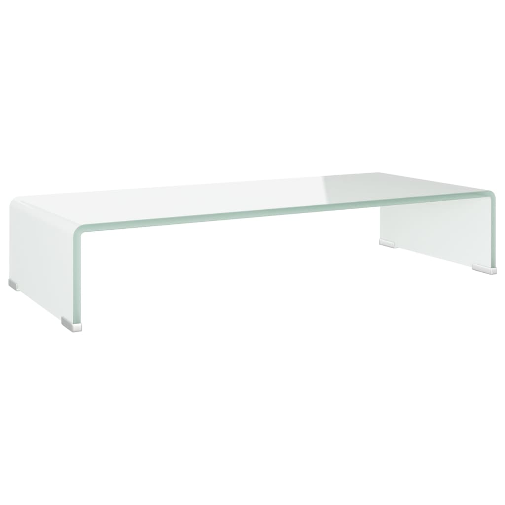 vidaXL TV-benk glass hvit 70x30x13 cm