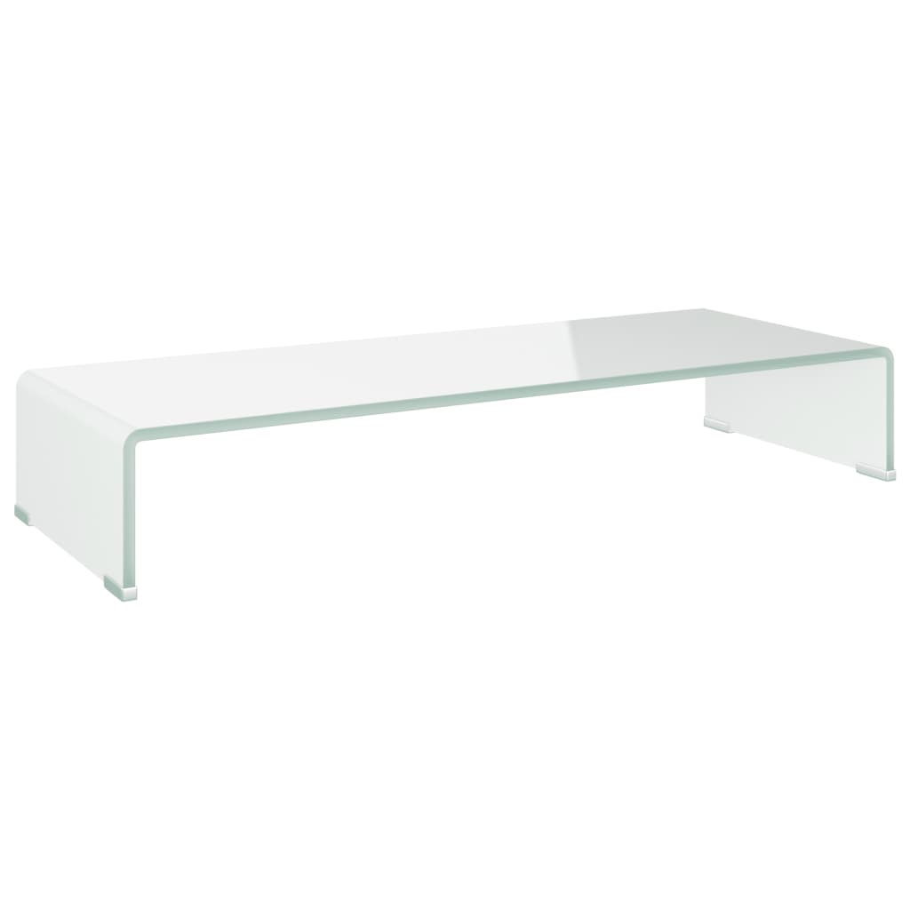 vidaXL TV-benk glass hvit 80x30x13 cm