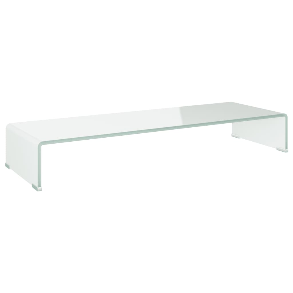 vidaXL TV-benk glass hvit 90x30x13 cm