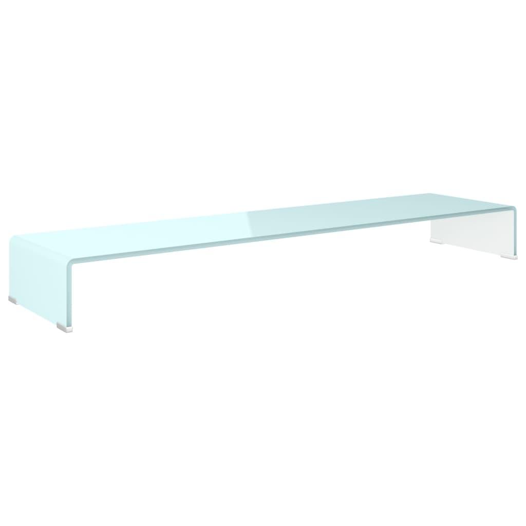 vidaXL TV-meubel/monitorverhoger wit 120x30x13cm glas