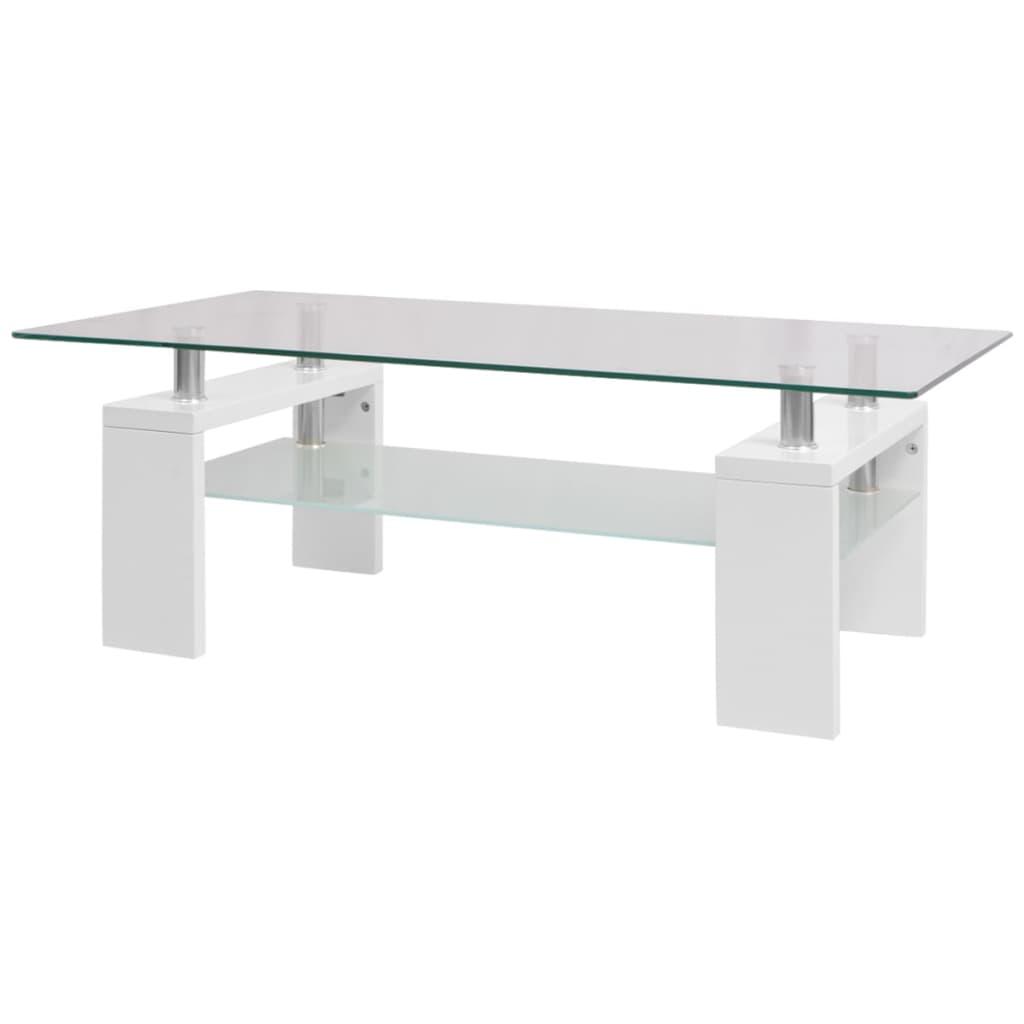 Afbeelding van vidaXL Hoogglans salontafel met legplank 110x60x40 cm wit