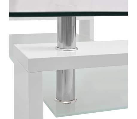 vidaXL Blizgus kavos staliukas su apatine lentyna, 110x60x40cm, baltas[4/5]