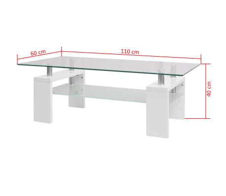 vidaXL Blizgus kavos staliukas su apatine lentyna, 110x60x40cm, baltas[5/5]