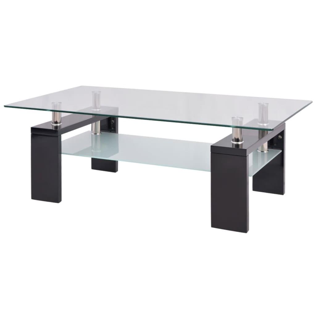 Afbeelding van vidaXL Hoogglans salontafel met legplank 110x60x40 cm zwart