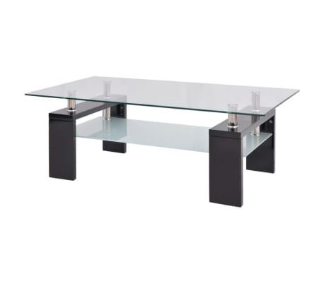 vidaXL Hoogglans salontafel met legplank 110x60x40 cm zwart[2/5]