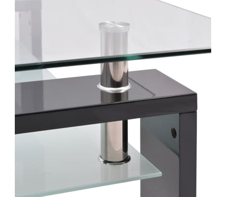 vidaXL Hoogglans salontafel met legplank 110x60x40 cm zwart[4/5]
