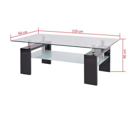 vidaXL Hoogglans salontafel met legplank 110x60x40 cm zwart[5/5]