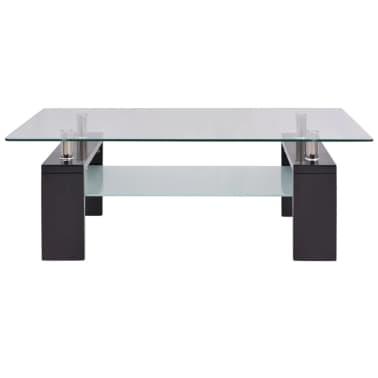 vidaXL Hoogglans salontafel met legplank 110x60x40 cm zwart[3/5]