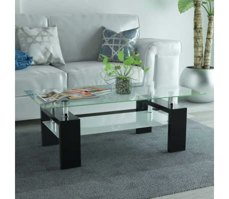 vidaXL Hoogglans salontafel met legplank 110x60x40 cm zwart[1/5]