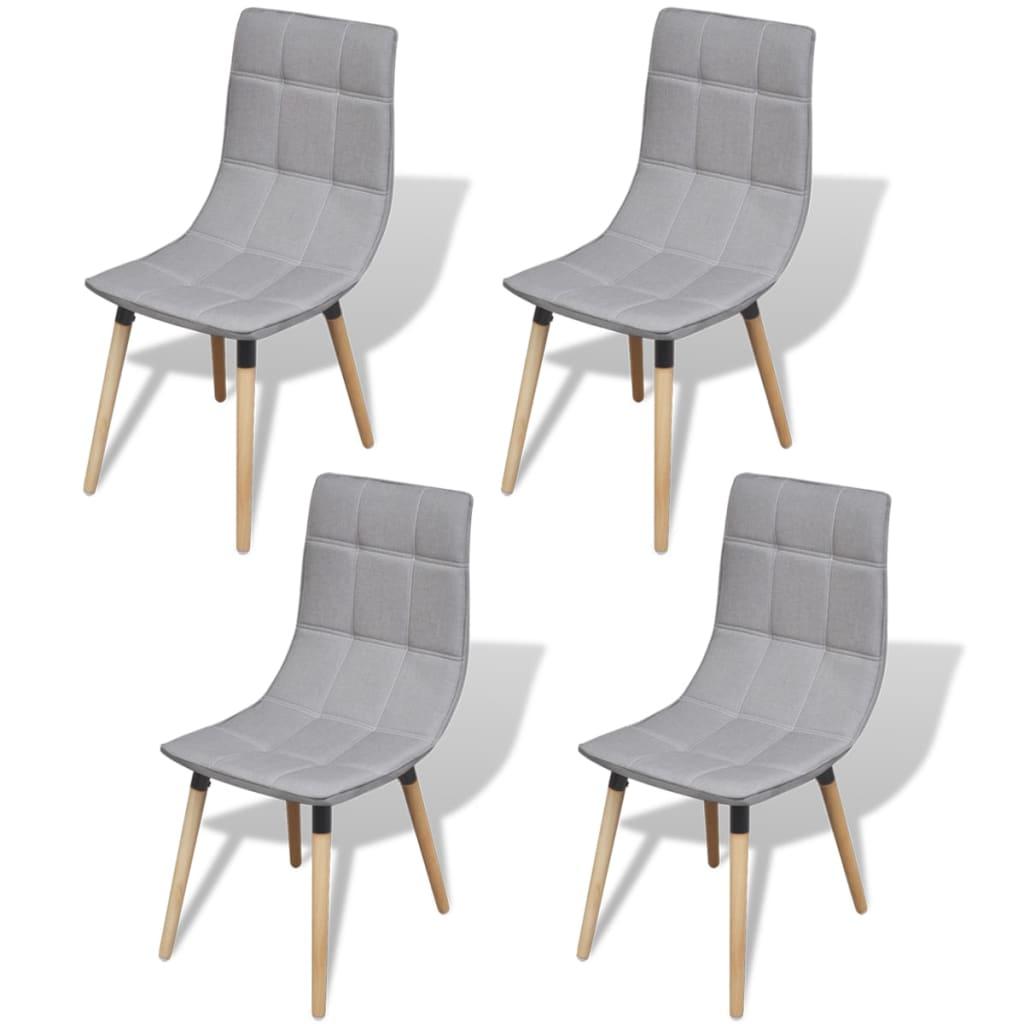 vidaXL Καρέκλες Τραπεζαρίας 4 τεμ. Ανοιχτό Γκρι
