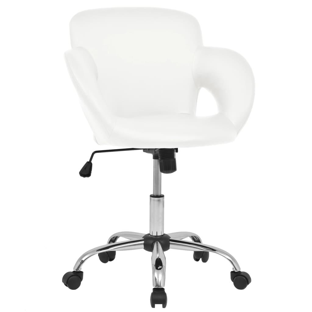 vidaXL Καρέκλα Μπαρ Περιστρεφόμενη Λευκή από Συνθετικό Δέρμα