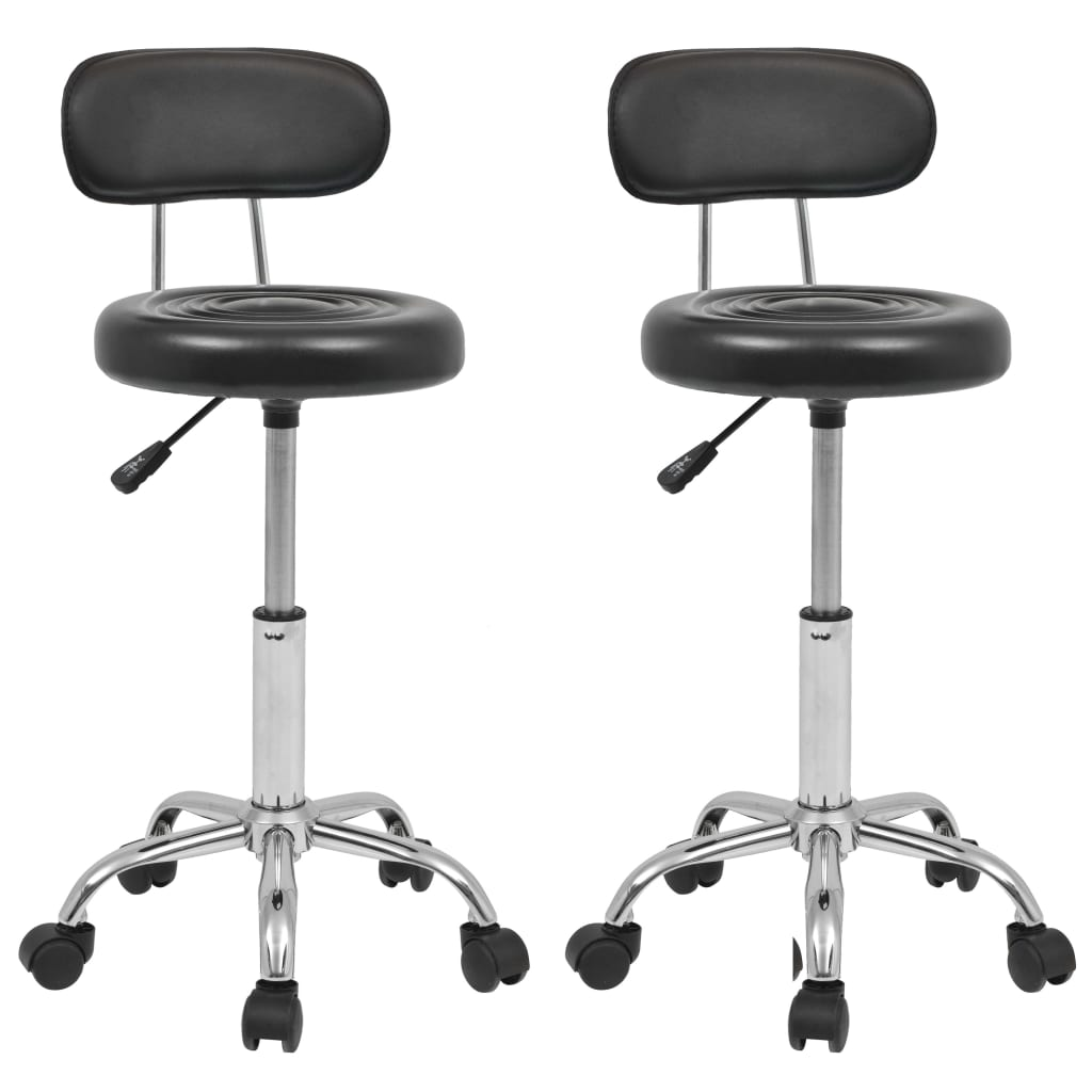 vidaXL Otočná židle do salónů krásy a spa z umělé kůže černá 2 ks