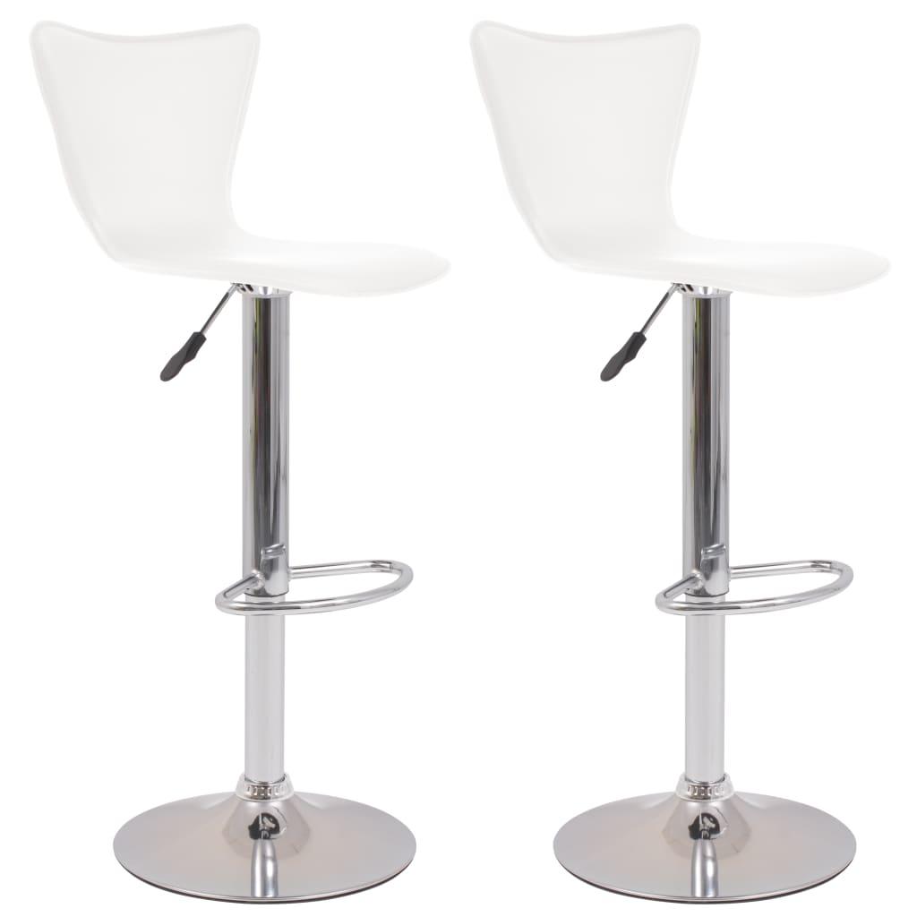vidaXL Otočné barové židle, 2 ks, umělá kůže, bílá