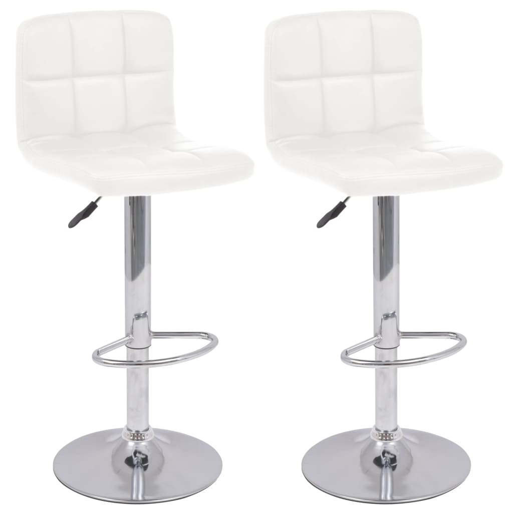 vidaXL Otočné barové stoličky, 2 ks, umělá kůže, bílá