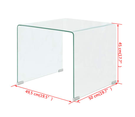 vidaXL Kavos staliukas, grūdintas stiklas, 49,5x50x45 cm, skaidrus[6/6]