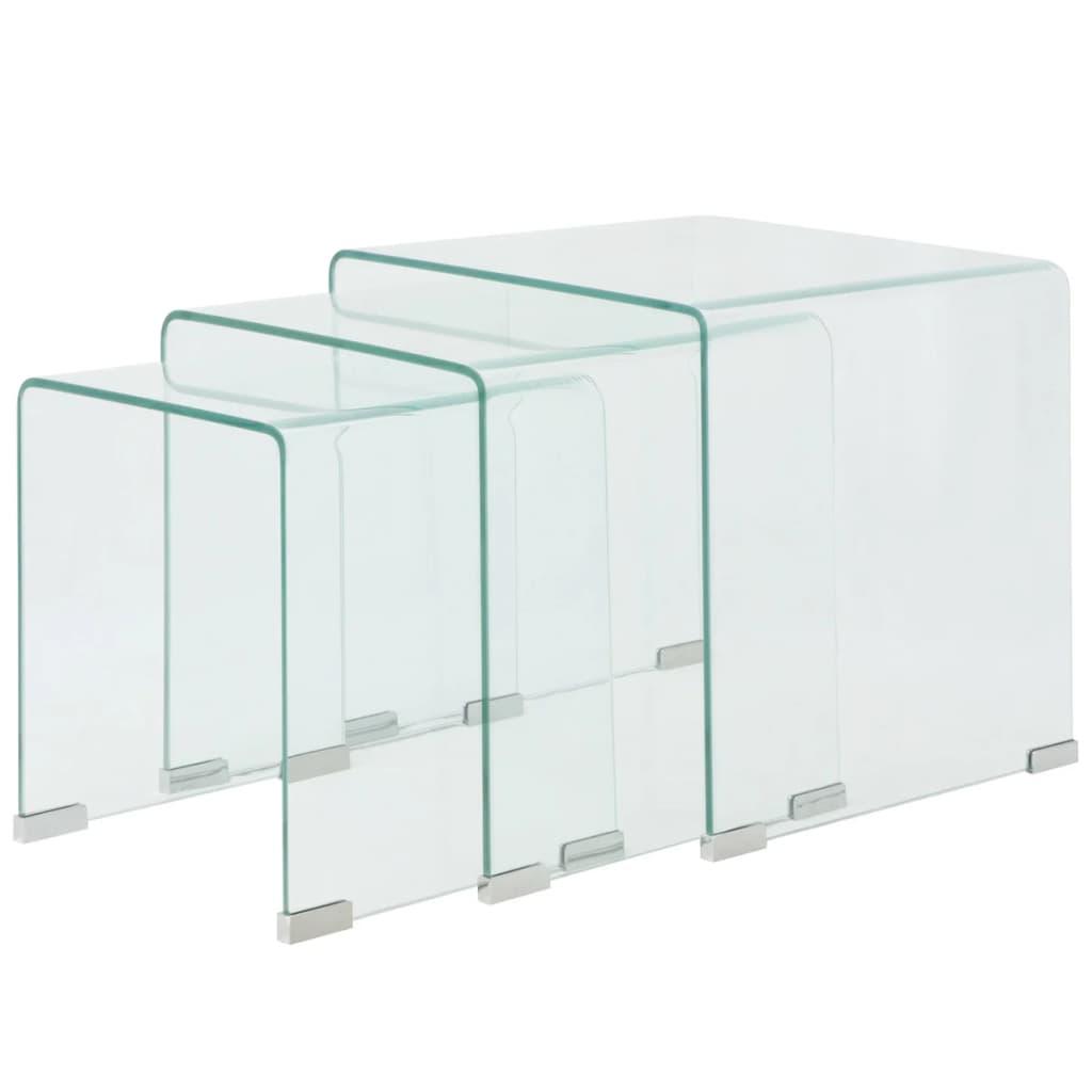 99244190 Dreiteiliges Satztisch-Set aus gehärtetem Glas Transparent