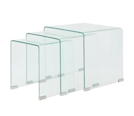 vidaXL 3 d. sustumiamų staliukų kompl., grūdintas stiklas, skaidrus