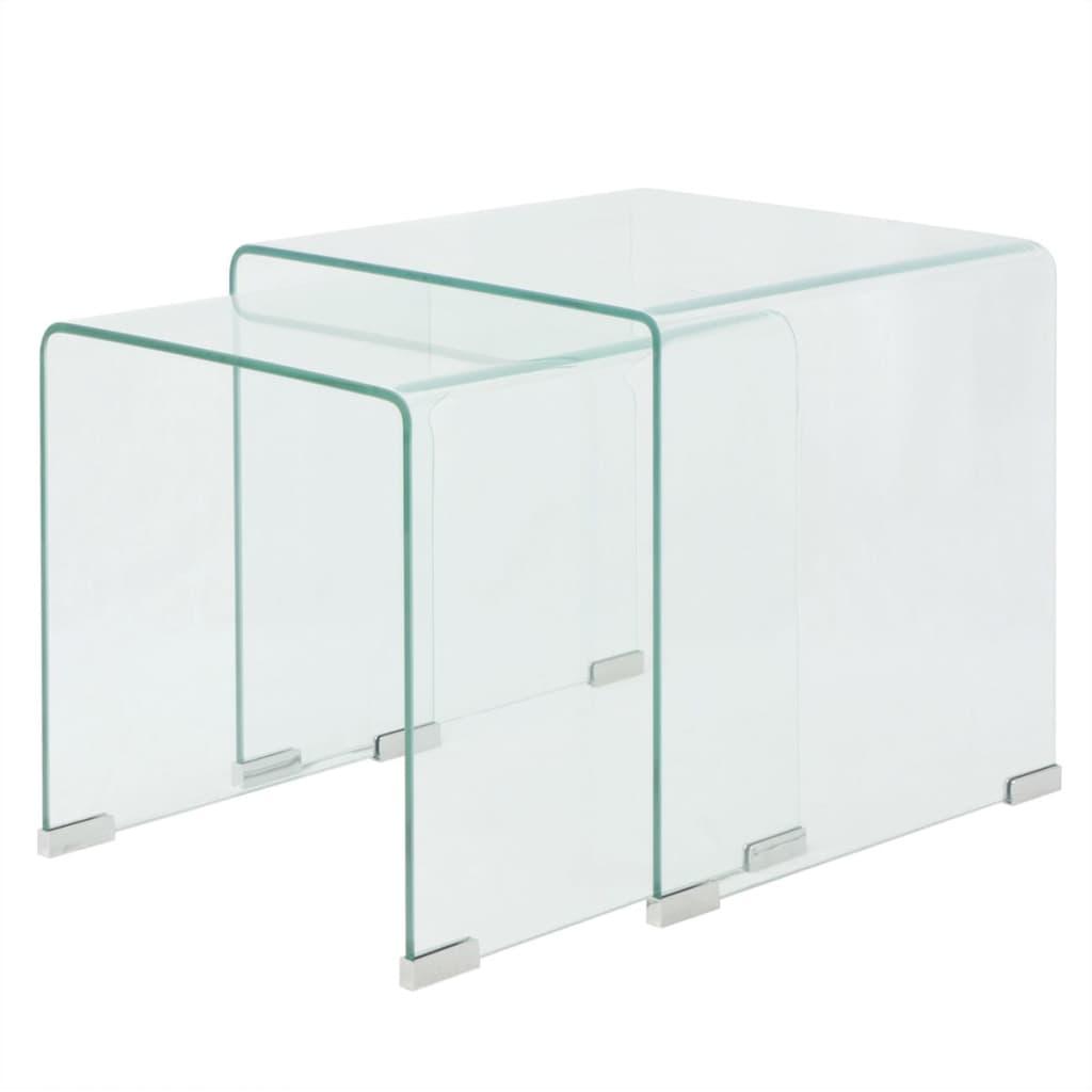 vidaXL Set de masă din sticlă securit transparentă, stivuibil, 2 piese poza vidaxl.ro