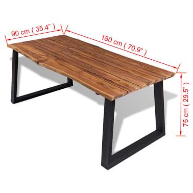 """vidaXL Dining Table Solid Acacia Wood 70.9""""x35.4""""[7/7]"""