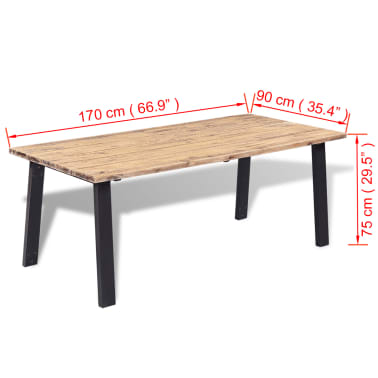 "vidaXL Dining Table Solid Acacia Wood 66.9""x35.4""x29.5""[6/6]"