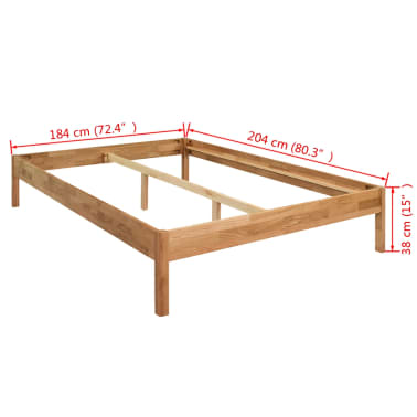 "vidaXL Bed Frame Solid Oak Wood 70.9""x78.7"" Natural[8/8]"