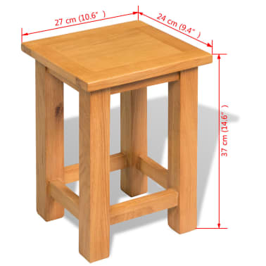 vidaXL End Table 27x24x37 cm Solid Oak Wood[5/5]