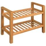 vidaXL Zapatero con dos estantes madera de roble maciza 49,5x27x40 cm