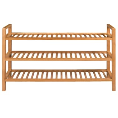 vidaXL Shoe Rack with 3 Shelves Solid Oak 100x27x59.5 cm[2/5]