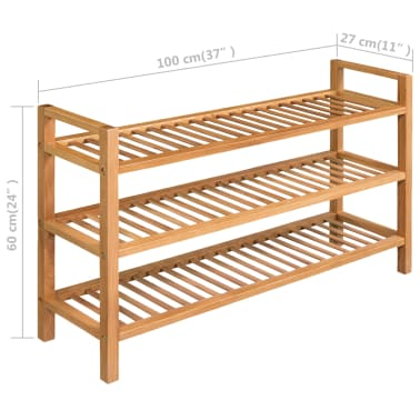 vidaXL Shoe Rack with 3 Shelves Solid Oak 100x27x59.5 cm[5/5]