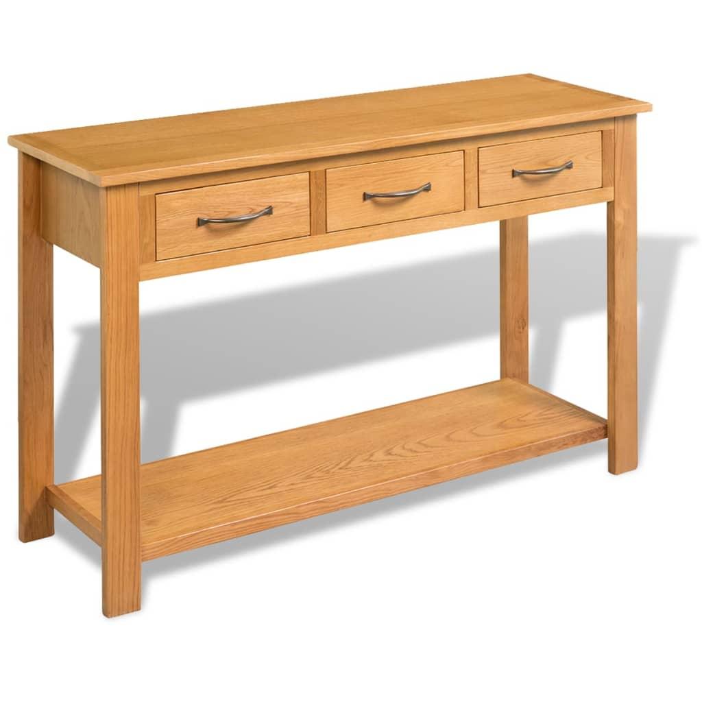 vidaXL Konzolni stol od masivne hrastovine 118 x 35 x 77 cm