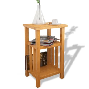 "vidaXL End Table with Magazine Shelf Solid Oak 10.6""x13.8""x21.7""[1/6]"
