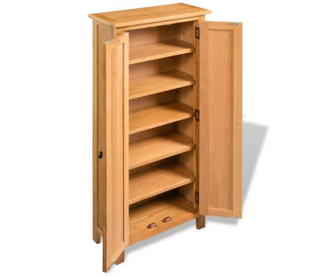 vidaXL Armario de almacenaje de madera de roble maciza 50x22x122 cm[3/6]
