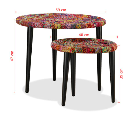 Acheter vidaxl table basse 2 pcs d tails tiss s chindi - Table basse multicolore ...