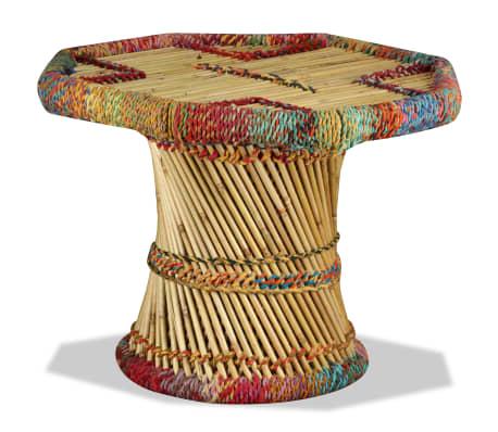 vidaXL Table basse Bambou avec Détails Chindi Multicolore[1/9]