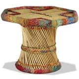vidaXL Kavos staliukas, bambukas, su megztomis detalėmis, įv. sp.