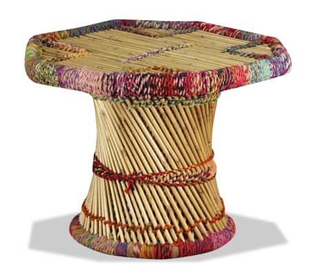 vidaXL Table basse Bambou avec Détails Chindi Multicolore[2/9]