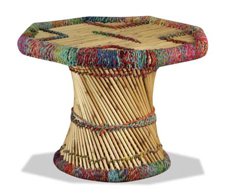 vidaXL Table basse Bambou avec Détails Chindi Multicolore[3/9]