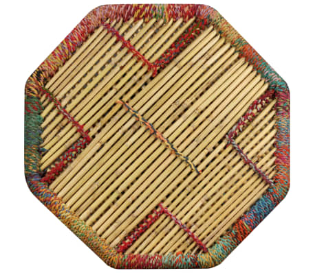 vidaXL Table basse Bambou avec Détails Chindi Multicolore[6/9]