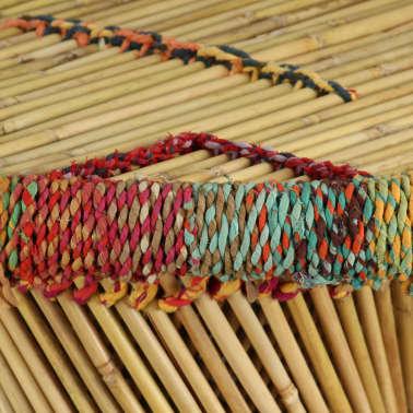 vidaXL Table basse Bambou avec Détails Chindi Multicolore[7/9]