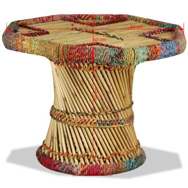 vidaXL Table basse Bambou avec Détails Chindi Multicolore[9/9]